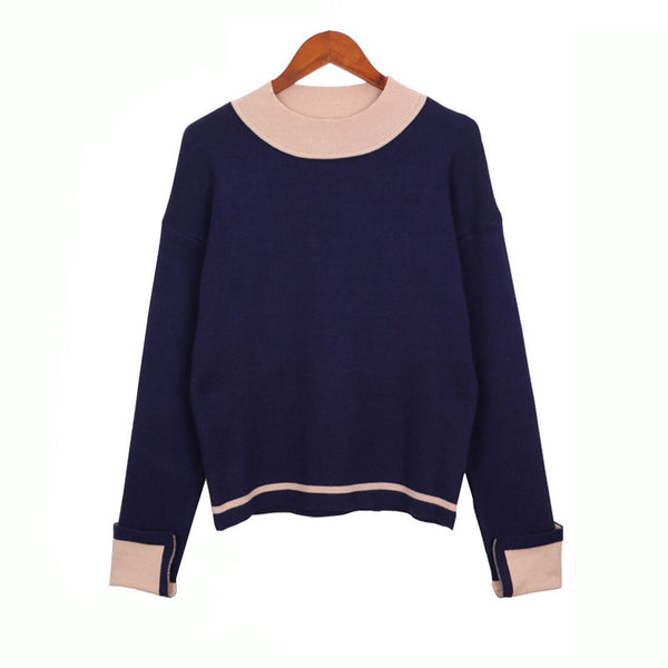 Fashion Color Contrast Sweater