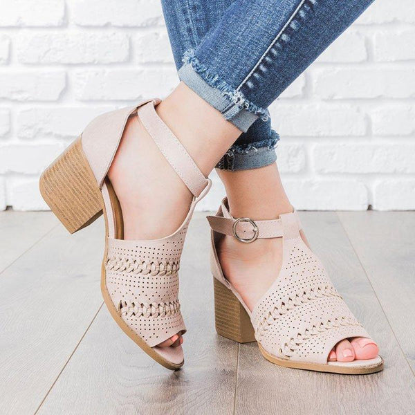 Women Boho Summer Adjustable Buckle Chunky Heel Plus Size Sandals