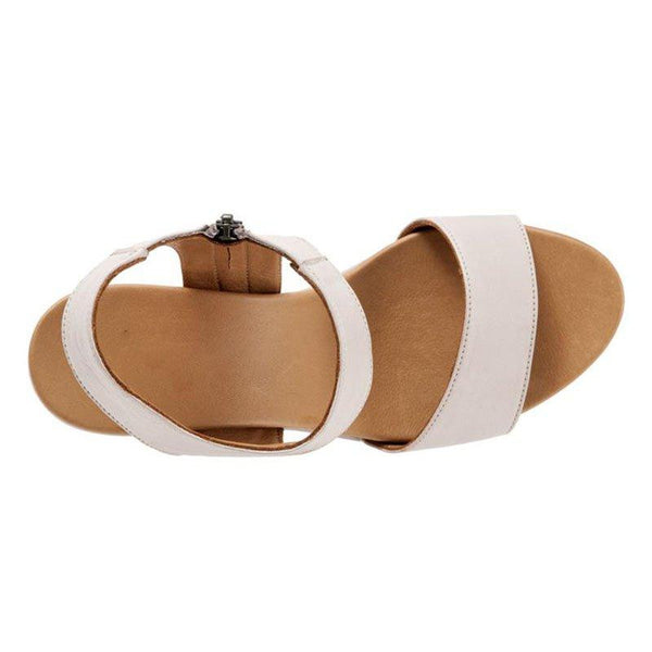 Womens Summer Pu Wedge Heel Zipper Casual Sandals