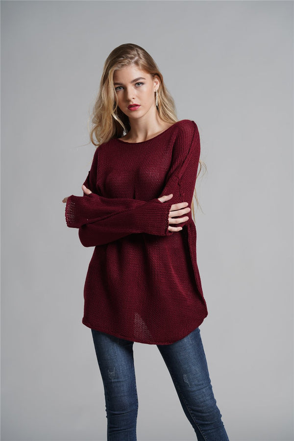 Off-the-shoulder Solid Color Sweater