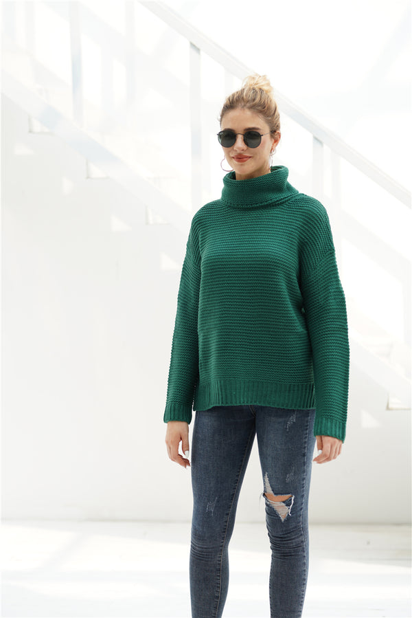 Solid Color Large Size OL Commuter Turtleneck Sweater Female