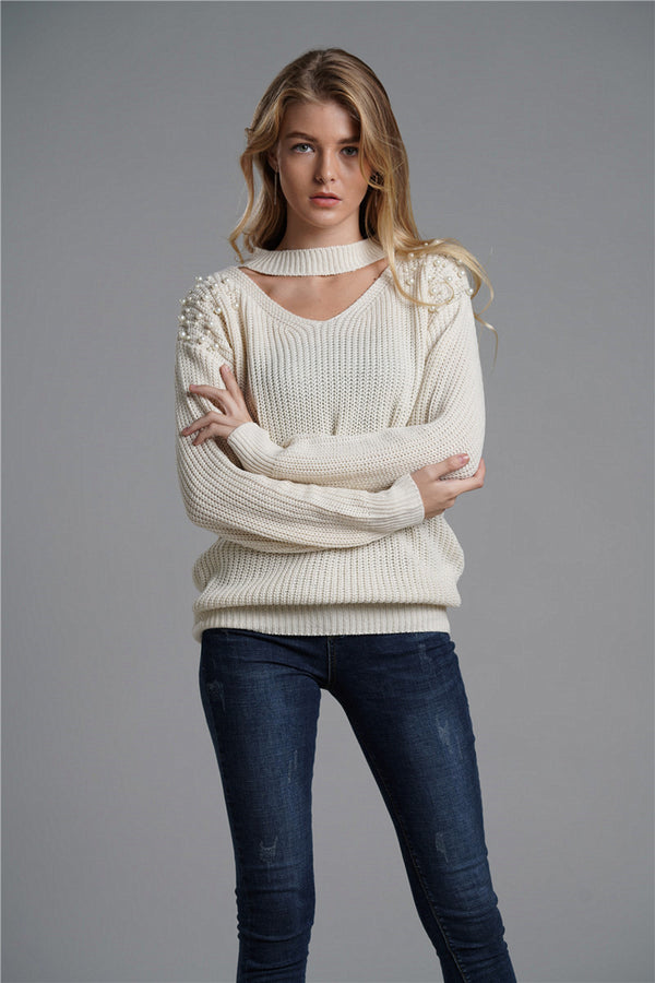 Handmade Beaded Solid Color Sweater