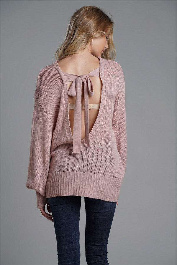 Sexy Open Back Bow OL Commuter Sweater