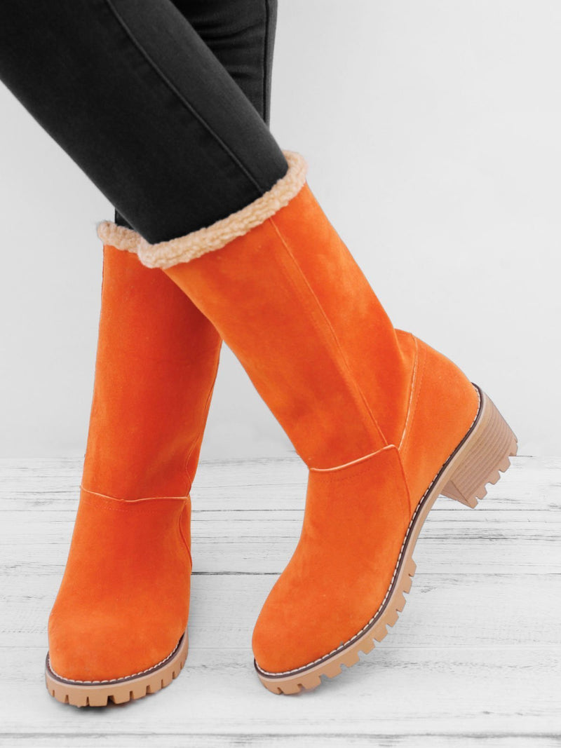 Women's Orange Snow Boots Warm Chunky Heel Casual Snow Boots