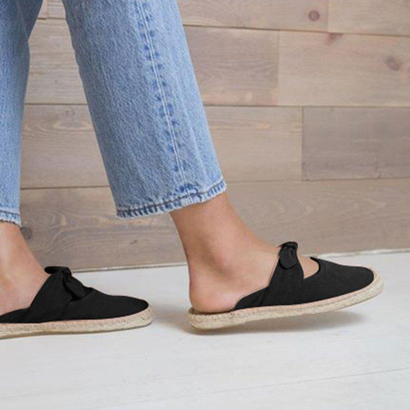 Womens Espadrilles Artificial Suede Casual Flat Heel Slippers