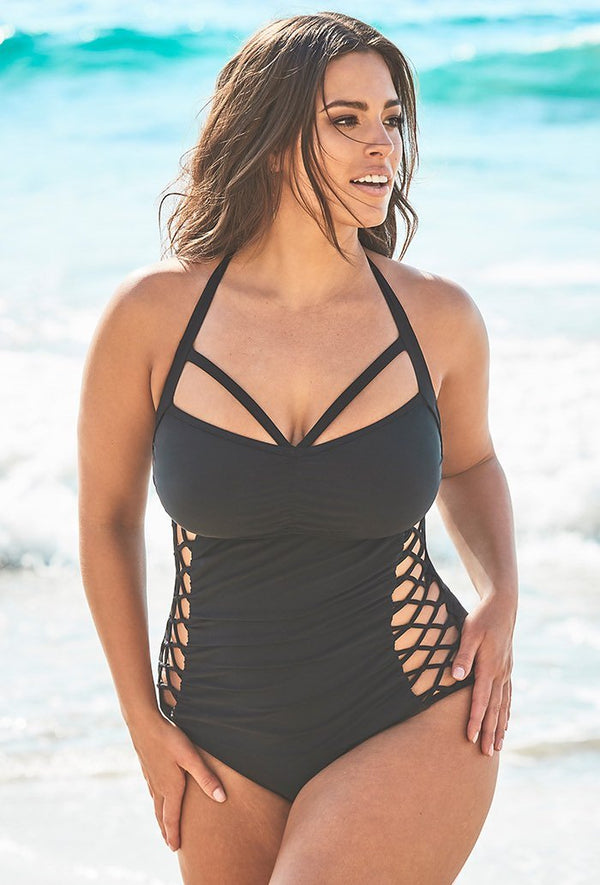 ALL BOSS BLACK CUT OUT UNDERWIRE ONE PIECE SWIMSUIT
