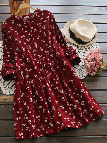 2 Colors Cute Floral Long Sleeve Dress