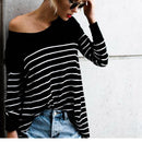Women's Round Neck Long Sleeve Striped Tee Shirt - Grilchic