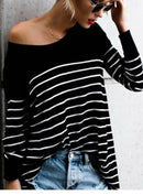 Women's Round Neck Long Sleeve Striped Tee Shirt