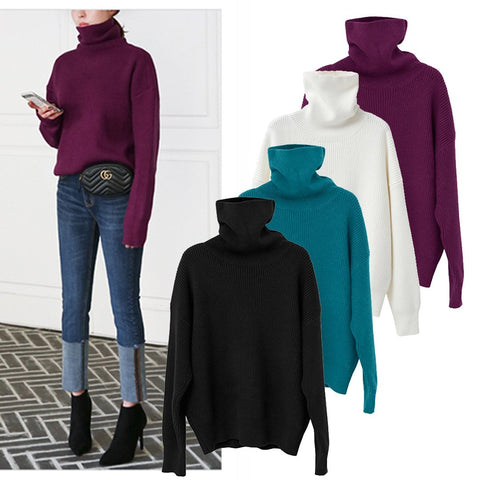 Loose Turtleneck Plain Sweater