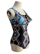 Women's Lace-up front Geo Pattern One Piece Swimsuit