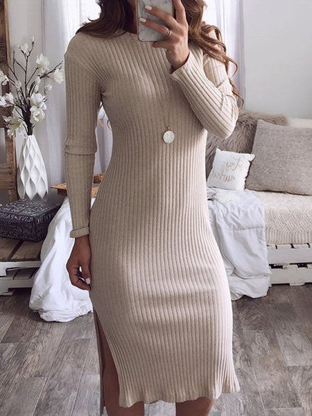 Fall/Winter Slit Hem Solid Stretchy Dresses