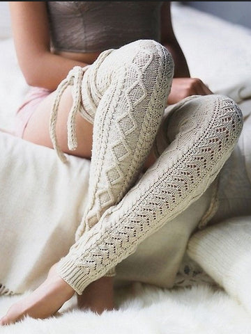 Women Warm Jacquard Above Knee High Sweater Socks