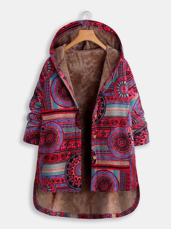 Vintage Ethnic Print Quilted Fleece Hooded Button Winter Coat