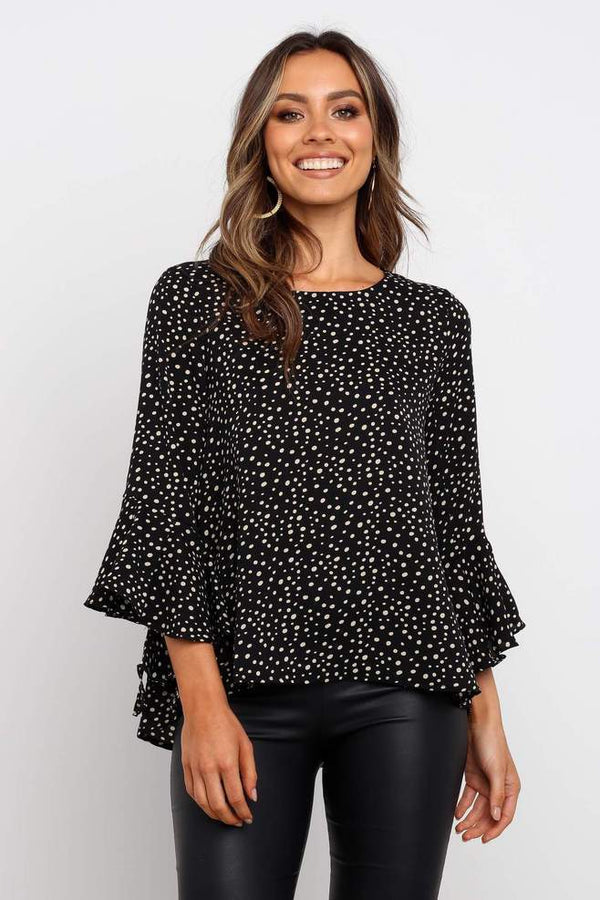 Mid Length Sleeves With Ruffle Hem Top