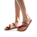 Bohemian clip toe knitted tassels splicing flat sandals