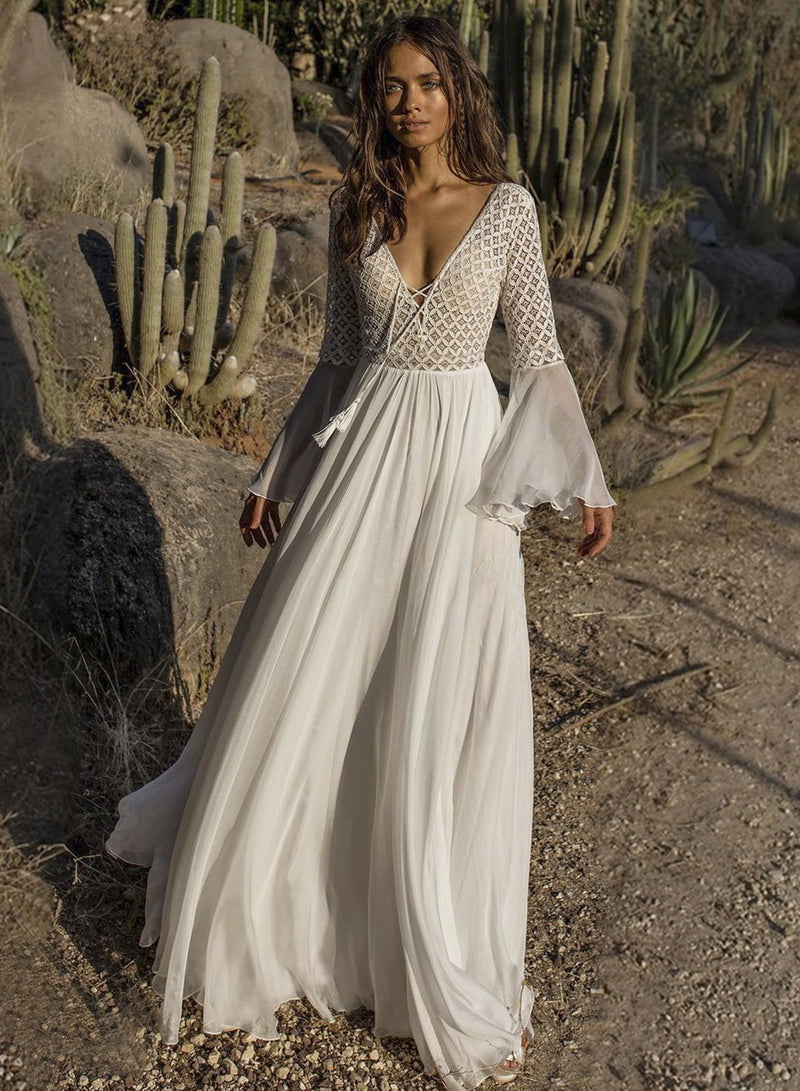 Women's Fashion V-neck Flared Backless Maxi Dress