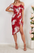 Fixed V-neckline Dress In Red Floral