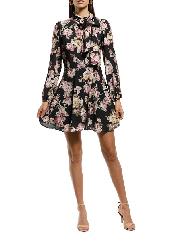 High Neckline Floral Print Mini Dress