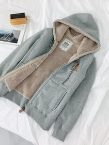 Solid Warm Lined Embroidered Casual Coats