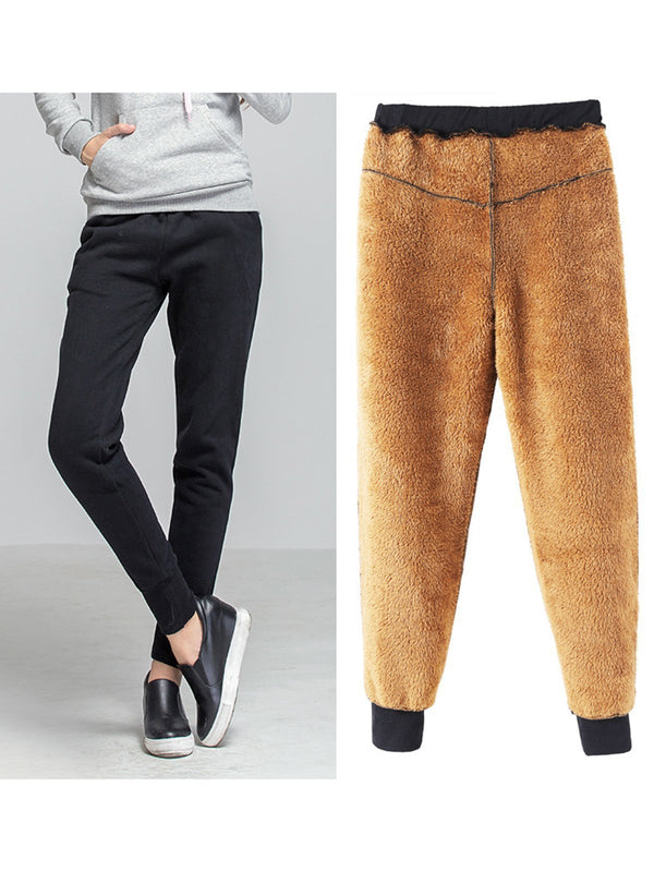 Women Solid Cotton Pockets Fur Lined Casual Pants