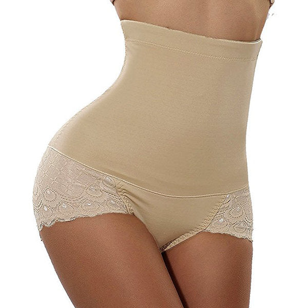 High Waist Lace-trim Tummy Control Hip Lifting Shapewear Panties