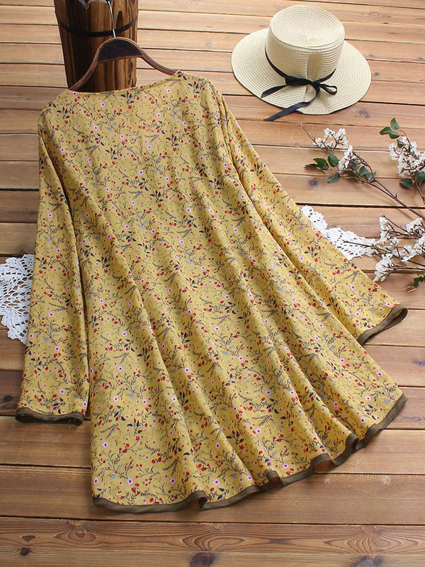 Irregular Floral Print Patchwork Long Sleeve Blouse For Women