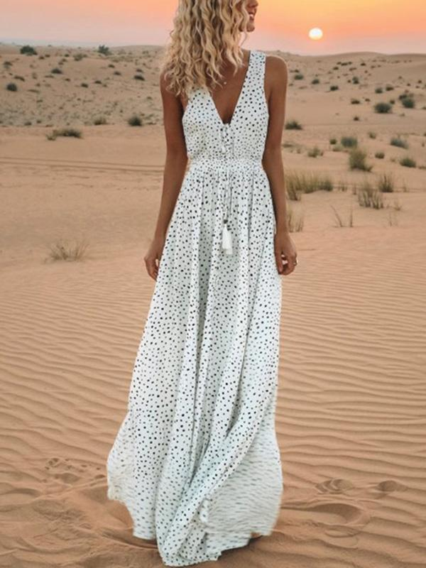 Pretty Bohemia Polka-dot  V Neck Maxi Dress