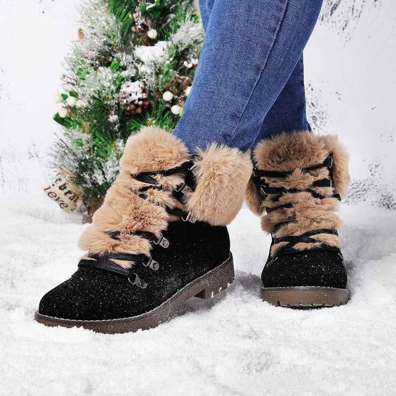 Womens Lace-Up Snow Boots Winter Faux Suede Boots