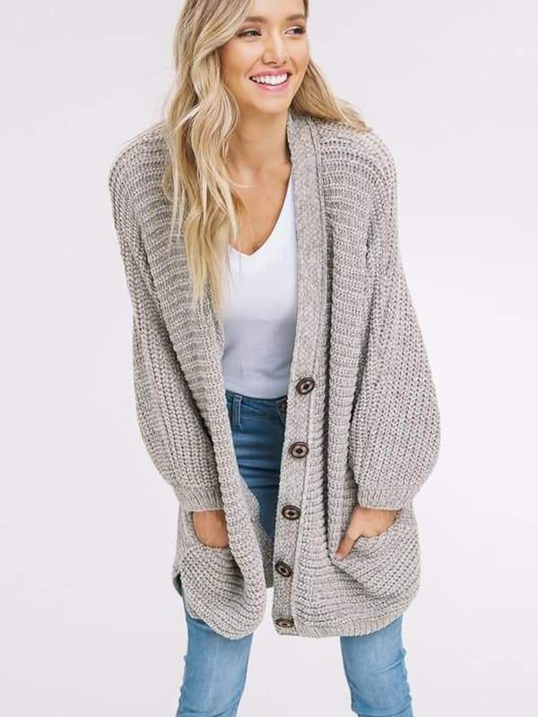 Chellysun Boyfriend Long Cable Knit Cardigan