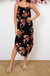 Round neckline Dress In Black With Apricot Floral
