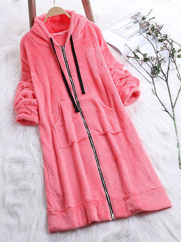 Solid Fleece Drawstring Hooded Long Sweatshirts