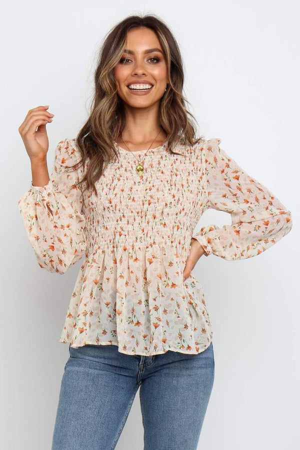 Cream Floral Printed Top