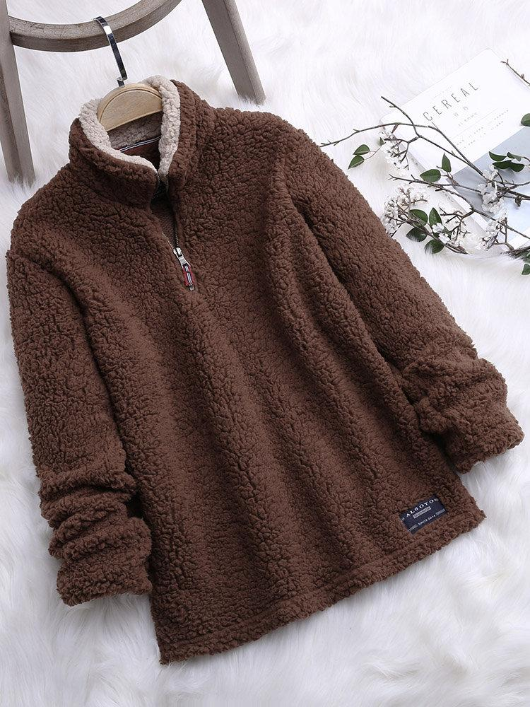Solid Color Women Stand Collar Patchwork Sweatshirts