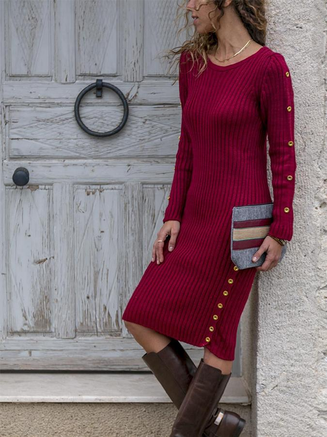 Round Neck Long Sleeve Cotton Buttoned Dresses