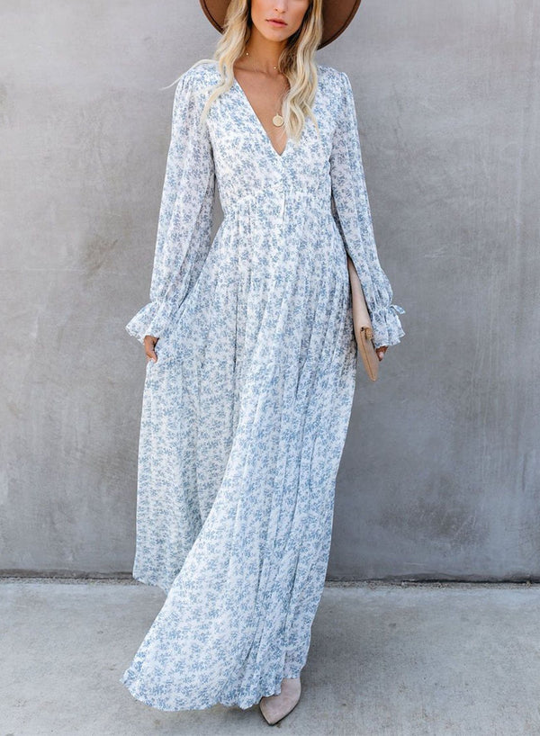 LONG SLEEVES BUTTON DOWN MAXI DRESS
