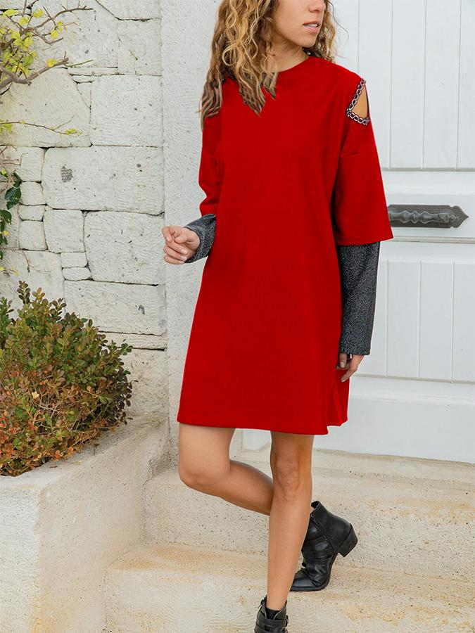 Round Neck Patchwork Cotton Long Sleeve Dresses