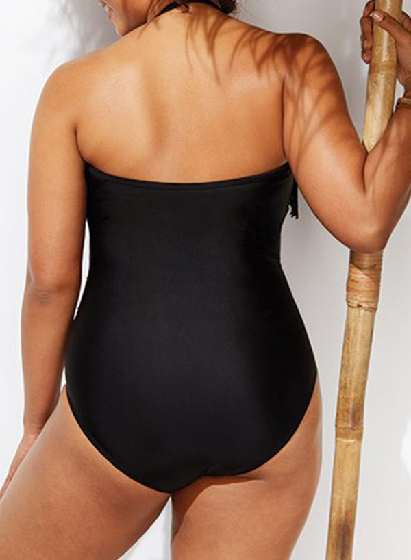 BLACK FRINGE BANDEAU ONE PIECE SWIMSUIT