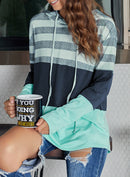 Speak To Me Color Block Drawstring Hoodie