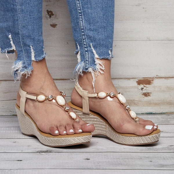 Gladiator Bohemia Wedges Platform Beach Flip Flops Sandals Casual Shoes