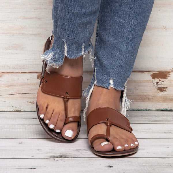 New Arrival Women Solid Clip Toe Flat Shoes Flat Summer Sandals