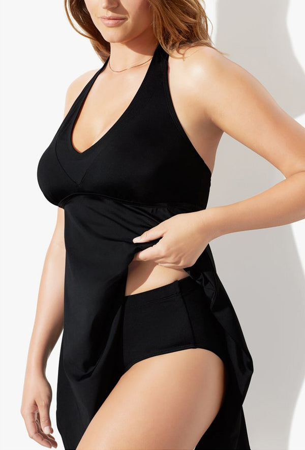BLACK HANDKERCHIEF HALTER TWO PIECE SWIMDRESS