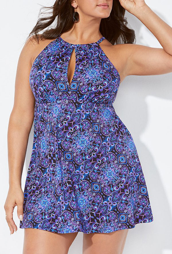 ENCHANTED KEYHOLE HIGH NECK SWIMDRESS
