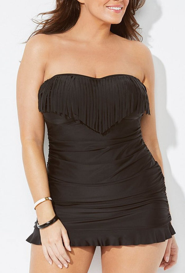 BLACK FRINGE BANDEAU SWIMDRESS