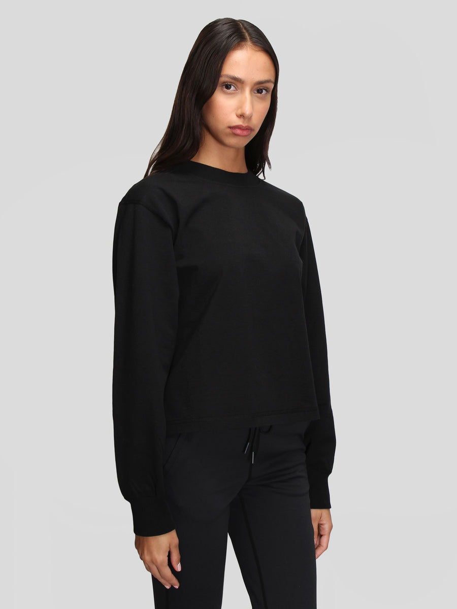 Knit Mid Wt Jersey Mock Neck LS