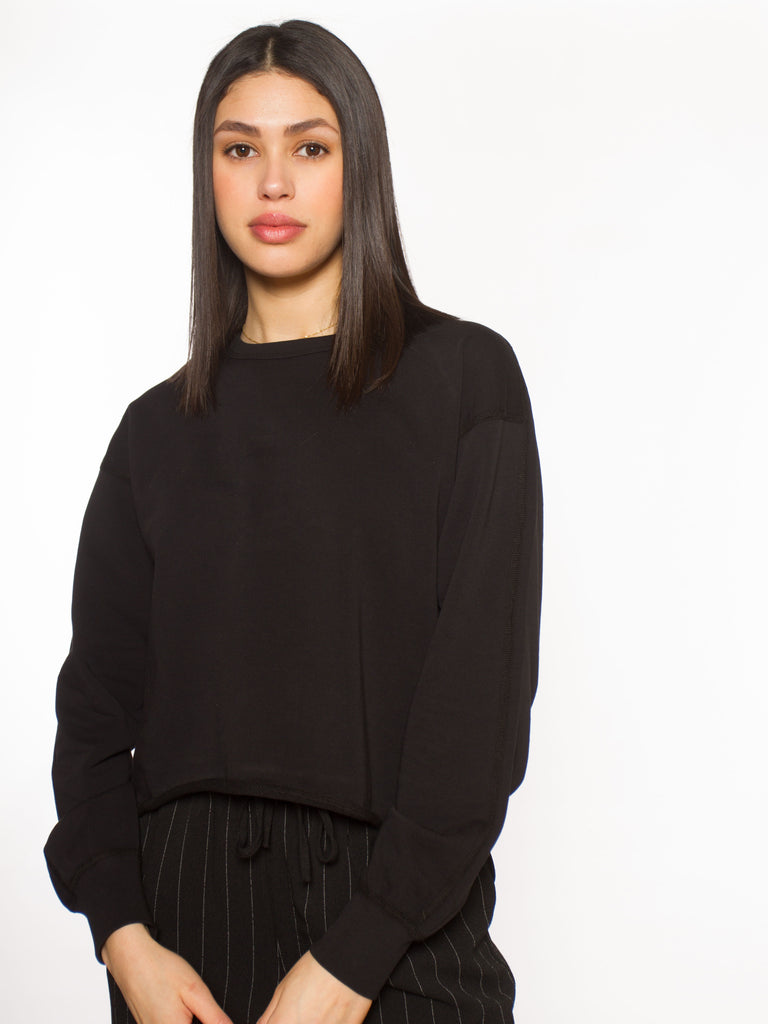 W Knit Pima Terry Cropped Crewneck