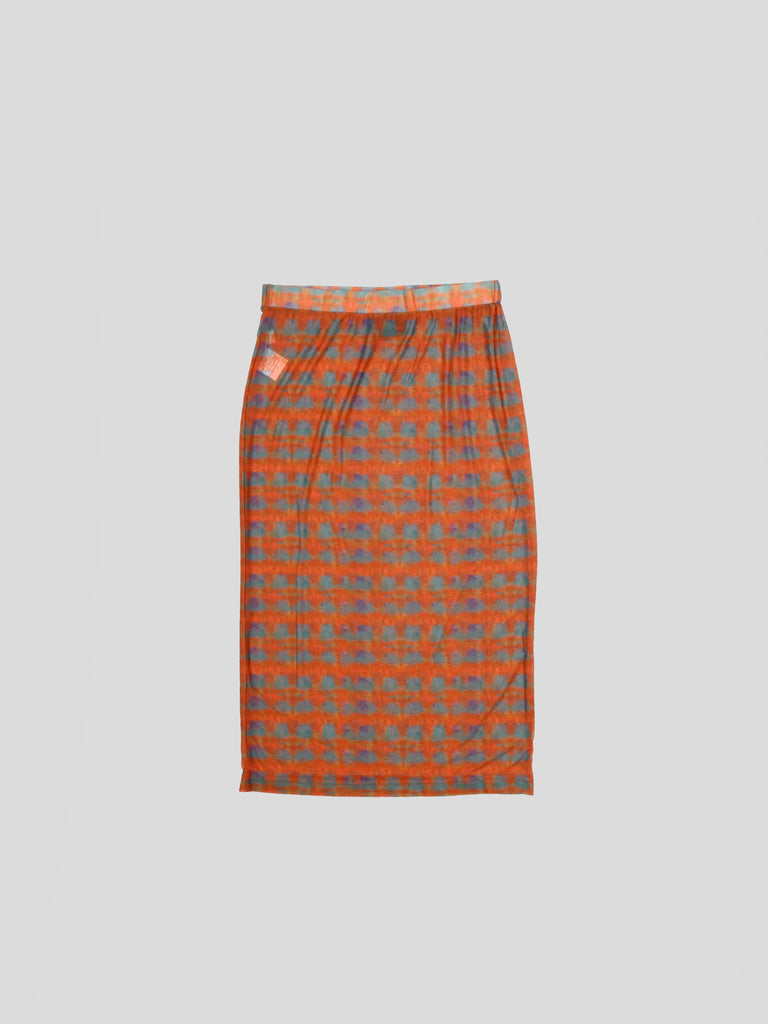 Printed Plaid Mesh Tube Skirt