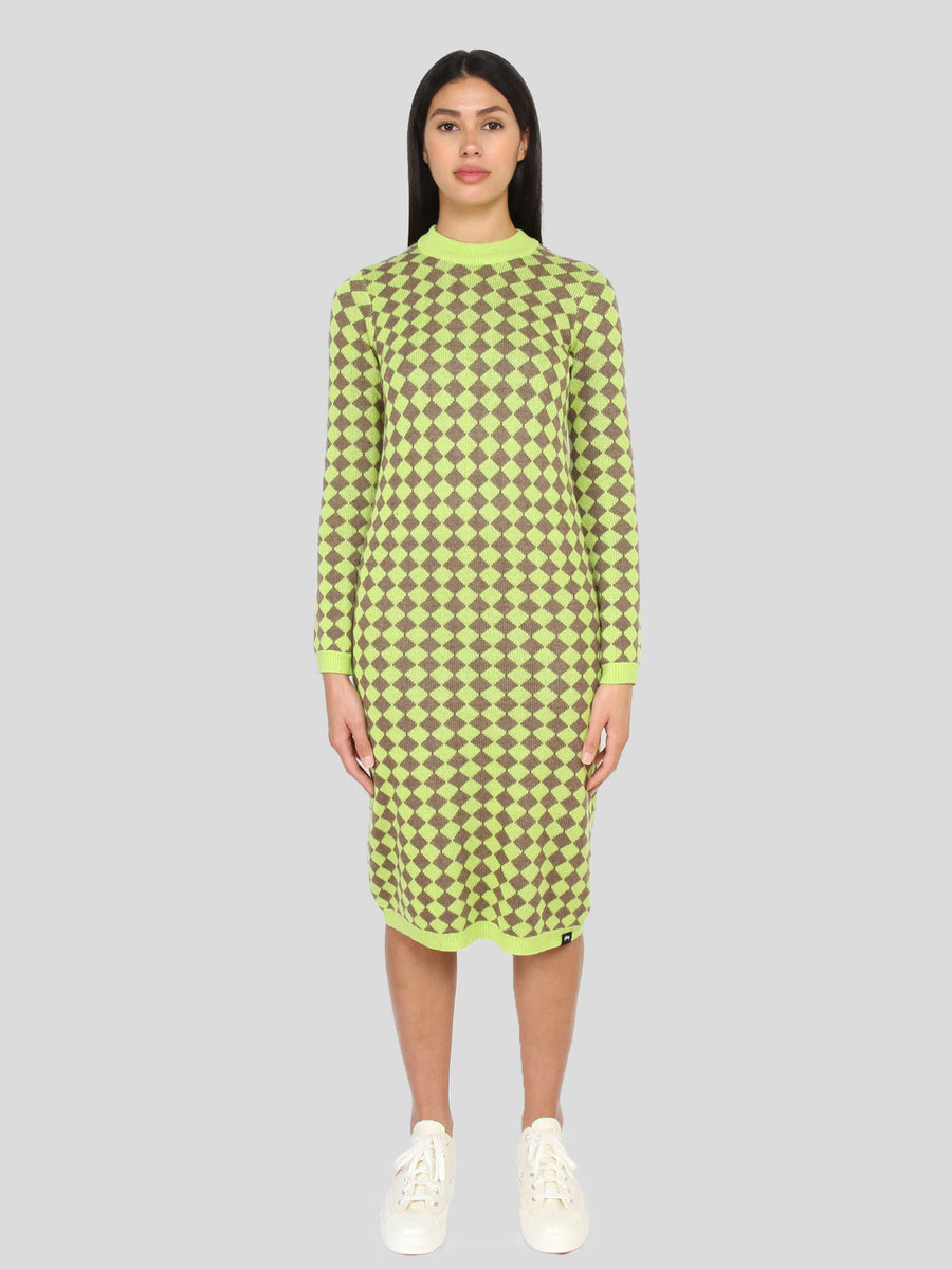 LS Melange Checker Dress