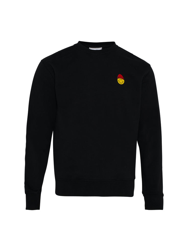 Crewneck Sweatshirt with Smiley Patch