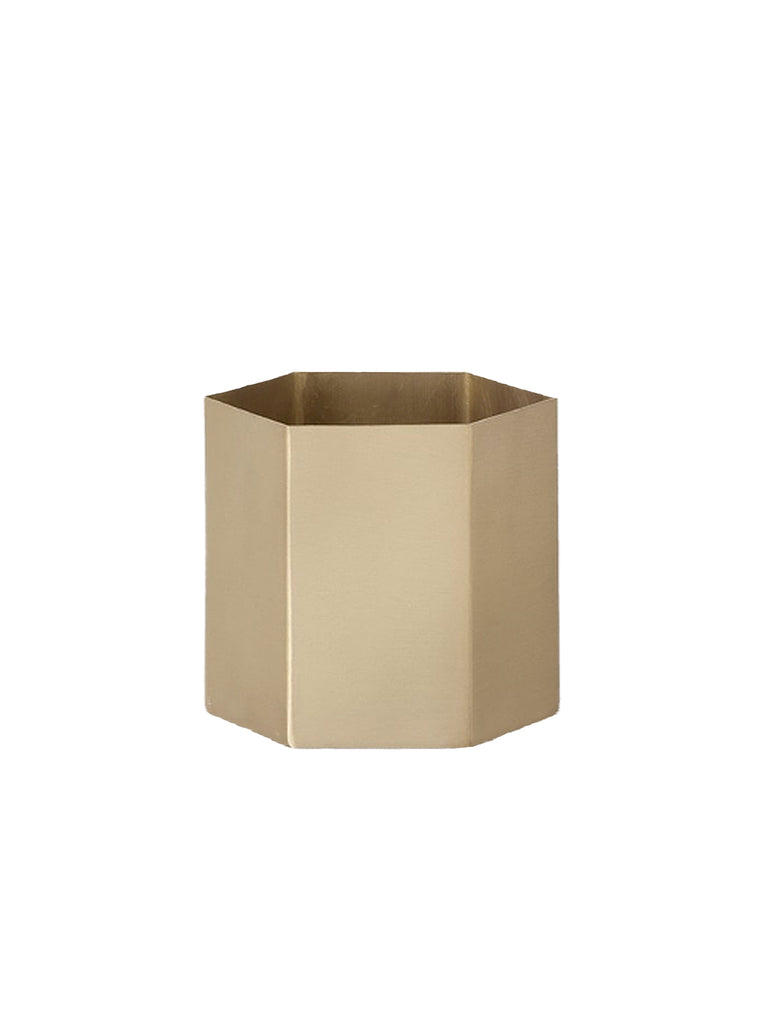 Brass Hexagon Pot Large